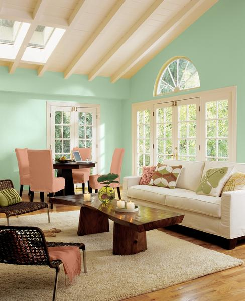 "Aloe -- the minty-green-leaning-toward-blue shade featured on these walls -- is Sherwin-Williams' 2013 Color of the Year. ""It's fresh, fun, optimistic, hopeful and not downbeat,"" said Jackie Jordan, the paint company's director of color marketing."