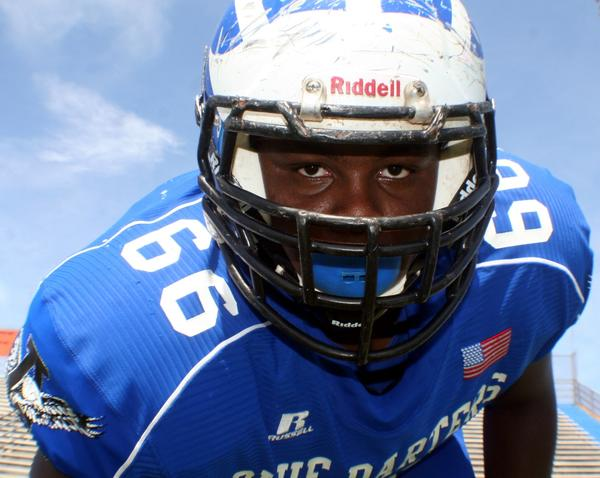 Apopka's offensive line leader is center Dazzie Morris, who will lead the Blue Darters into the Florida Class 8A state title game against Weston Cypress Bay this Saturday.
