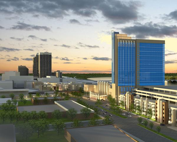 An artist's rendering of Penn National Gaming's Springfield casino plan, Hollywood Springfield Casino.