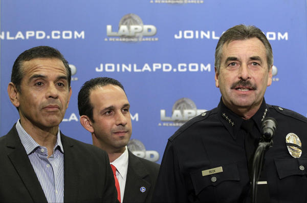 Los Angeles Mayor Antonio Villaraigosa, left, Los Angeles Councilman Mitchell Englander, middle, and Los Angeles Police Chief Charlie Beck announce that four suspects have been arrested in Las Vegas in the case related to the slayings of four people who were found dead in front of an unlicensed boarding house in Northridge during a news conference in Los Angeles.