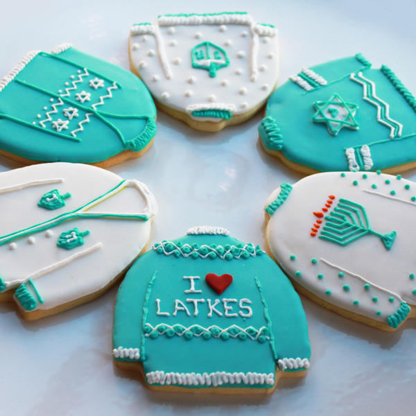 Ugly-sweater Hanukkah cookies from Philadelphia's Whipped Bakeshop, run by Bel Air High School and MICA alumni Brennen and Zoe Lukas.