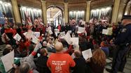 "Protest over controversial ""right-to-work"" legislation in Michigan"