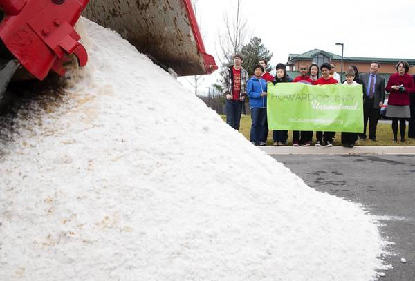 The Howard County Unsweetened Campaign kicked off on Dec. 11 at Burleigh Manor Middle School when a truck carrying 9.6 tons of sand dumped its contents into the school's parking lot. The sand represented the amount of sugar that the school's students would consume if each drank one 12-ounce soda a day for a year.