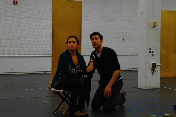 "Rehearsing a scene from the upcoming production of the musical ""Sunday in the Park with George"" at the Yale School of Drama."