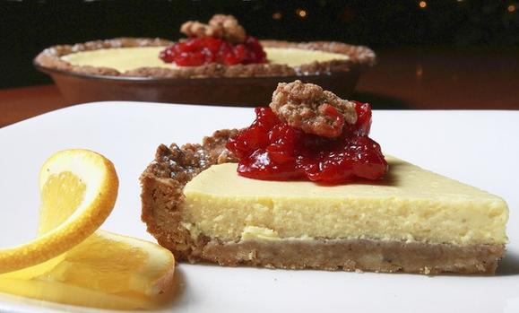Orange Tart with Cranberry Orange Sauce and Candied Walnut