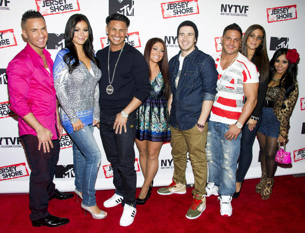 """Jersey Shore"" cast members, from left, Mike ""The Situation"" Sorrentino, Jenni ""JWoww"" Farley, Paul ""Pauly D"" Delvecchio, Deena Cortese, Vinny Guadagnino, Ronnie Ortiz-Magro, Sammi ""Sweetheart"" Giancola and Nicole ""Snooki"" Polizzi."