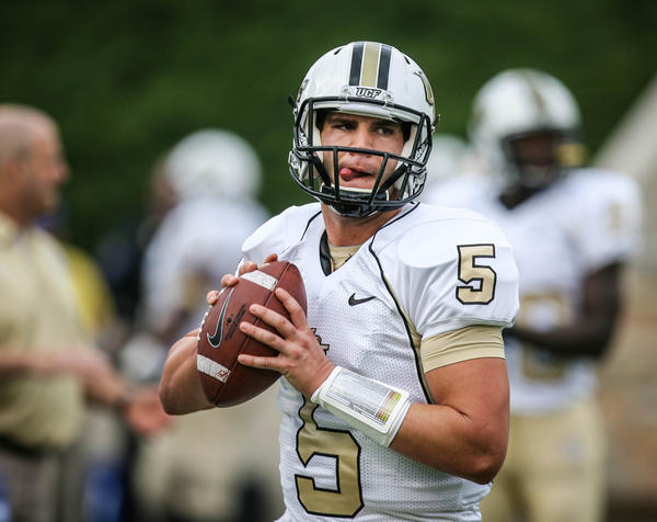 UCF QB Blake Bortles (5) warms up before the start of the 2012 C-USA title game against the University of Tulsa.