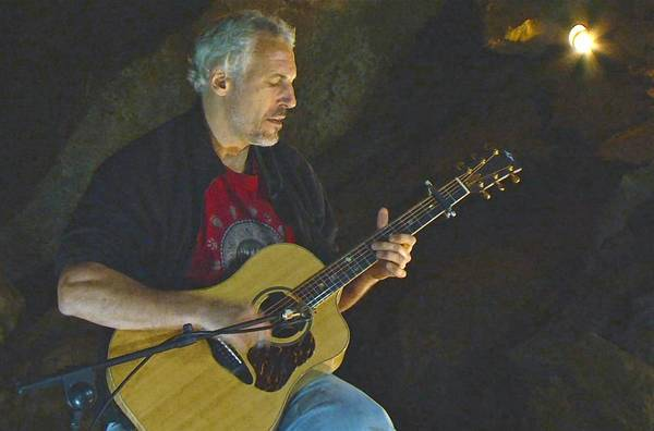 Jeff Pevar playing in the Oregon Caves, the source of music for his first solo CD, 'From the Core.'