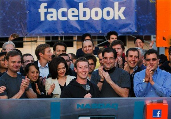 Facebook Chief Executive Mark Zuckerberg and Facebook employees celebrate its initial public stock offering on May 18.