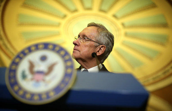 Senate Majority Leader Harry Reid (D-Nev.) speaks to members of the media during a news briefing on Capitol Hill.