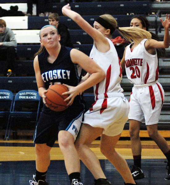 Petoskey senior guard/forward Kelsey Ance (left) had a game-high 19 points Monday as the Northmen rolled past Cheboygan, 63-33, in a non-league contest. The win was Petoskey's third straight.