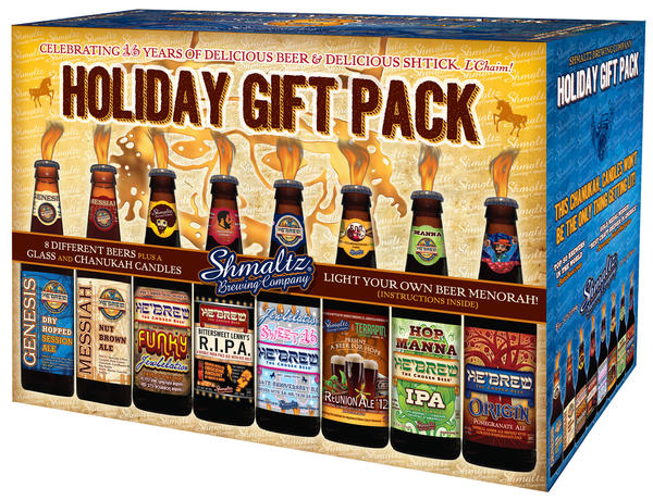 "The makers of kosher He'Brew beers released their chosen gift set just in time for Hannukah. It includes a buil-it-yourself menorah, custom tasting glasses, and eight He'Brews: the Genesis Dry-Hopped Session Ale, Messiah Nut Brown Ale, Funky Jewbilation Barrel-Aged Ale, Bittersweet Lenny's R.I.P.A (rye-based IPA), Reunion Ale '12 brewed with Terrapin, Hop Manna dry-hopped IPA, Origin Pomegranate Ale, and the Jewbilation Sweet 16.<br><br> Around $30. <a href=""http://www.shmaltzbrewing.com/HEBREW/distributors.html"">Click here</a> for a list of local retailers."