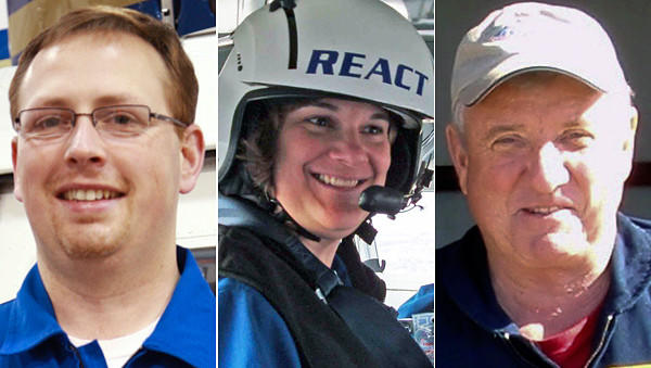 Victims of the REACT helicopter crash near Compton, Ill., are, left to right, flight nurse Jim Dillow, flight nurse Karen Hollis, and pilot Andy Olesen.