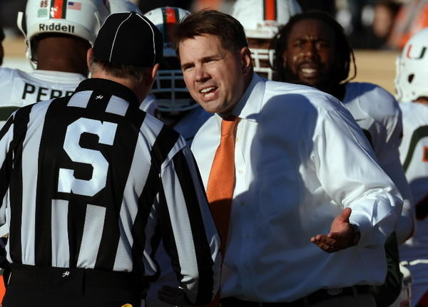 Miami head coach Al Golden argues with a game official after an apparent touchdown by the Hurricanes was voided at Wallace Wade Stadium on Saturday, November 24, 2012, in Durham, North Carolina. The Miami Hurricanes defeated the Duke Blue Devils, 52-45. (Chuck Liddy/Raleigh News & Observer/MCT)