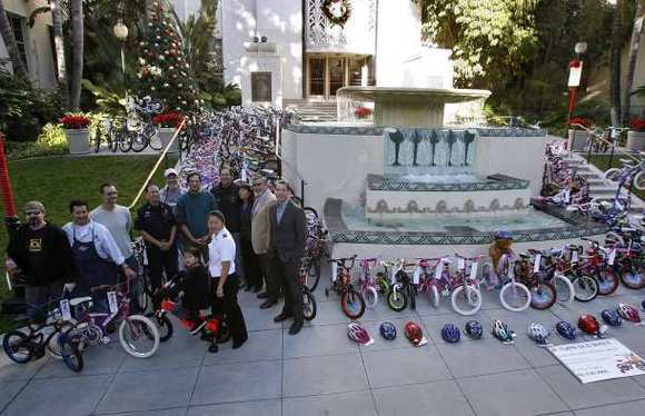 Local group Bike Angels brought about 150 bikes, that will be given away for Christmas, to the front of the Burbank City Hall on Tuesday, December 11, 2012.