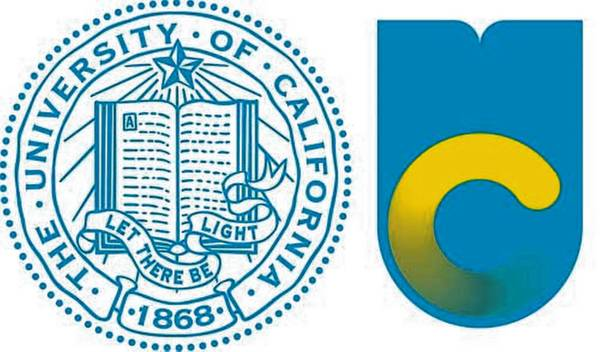 The old logo of the University of California, left, with the new logo. The university's original logo will still be in circulation, but marketing materials and websites will feature the new symbol.