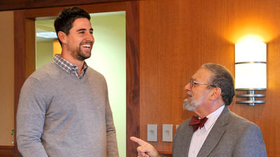 Ravens tight end Dennis Pitta meets Dennis Pitta, the professor