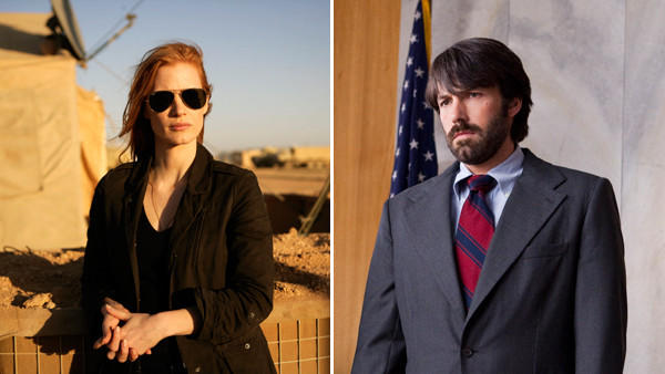 "In ""Zero Dark Thirty,"" Jessica Chastain, left, plays a member of the elite team of spies and military operatives stationed in a covert base overseas who secretly devoted themselves to finding Osama Bin Laden. Ben Affleck's ""Argo,"" which depicts the extraction from Iran of Americans in hiding, has been criticized by Iran's official news agency."
