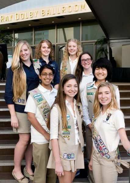 Eight Glendale-area young women were honored by Girl Scouts of Greater Los Angeles at a Dec. 5th event held at Hollywood and Highlands' Ray Dolby Ballroom. Named as part of 100 Emerging Leaders for Greater Los Angeles, the young women are shown left to right from the bottom of the steps up: Antonia Issaevitch, Isabel Martos-Repath, Mithra Bhadha, Rachel Nakamura, Sarah Hill, Heather Abrams, Jillian Kauffman and Morgan Beck.