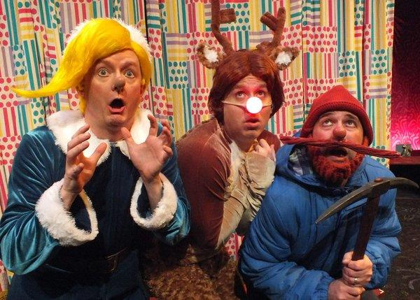 "Kyle Nudo, left, Steven Booth and Mike Sulprizio in ""Rudolph the Red-Nosed ReinDOORS"" at the Falcon."