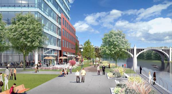 An artist rendering of the proposed Waterfront development along the Lehigh River in Allentown.