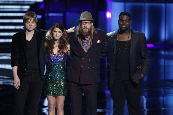 "Terry McDermott, Cassadee Pope, Nicholas David and Trevin Hunte, left to right, on ""The Voice."""