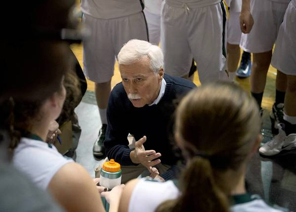 Central Catholic's coach Mike Kopp against Pocono Mountain West in their girls basketball game at Central Catholic in Allentown on Tuesday.