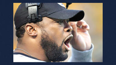 Pittsburgh Steelers head coach Mike Tomlin yells to his team in an NFL football game against the San Diego Chargers in Pittsburgh, Sunday. Tomlin said Tuesday that David DeCastro will be worked in at right guard during practice this week and could start Sunday at Dallas.