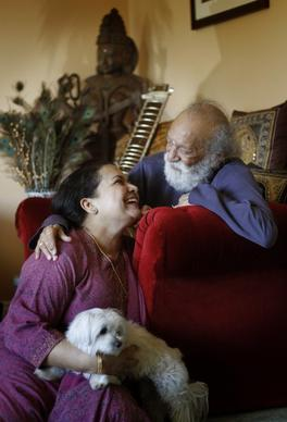 Ravi Shankar at his U.S. home in Encinitas, with his wife Sukaya Shankar on March 12, 2012.