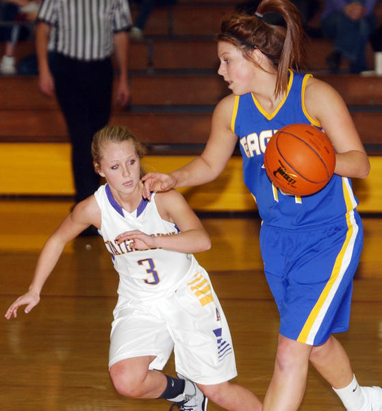 Aberdeen's Kelsey Hannigan dribbles as Watertown's Shayli Kirsch defends during Tuesday¿s game in Watertown.