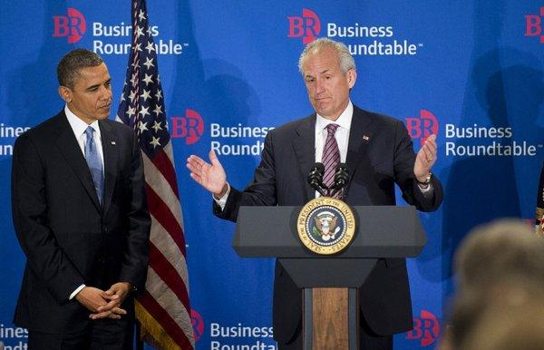 President Obama and Boeing Chief Executive Jim McNerney during a Business Roundtable meeting last week in Washington.