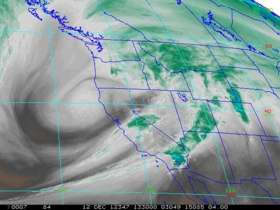 A satellite image shows water vapor above the Western U.S. on Dec. 12, 2012.