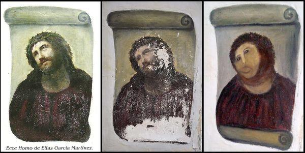 "A series of images shows the damage to the 19th century ""Ecce Homo"" fresco by artist Elias Garcia Martinez. The picture on the left shows the original work, the one in the middle the pre-renovated fresco and the one on the right the damaged painting."