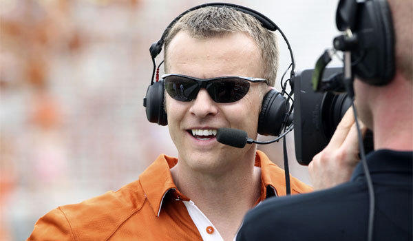 Bryan Harsin, shown giving an interview as Texas' co-offensive coordinator in 2011, will take over as head coach at Arkansas State.