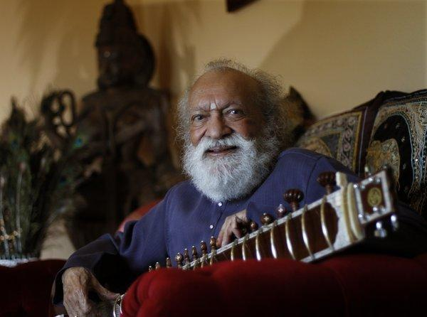 Ravi Shankar, the master of the Indian sitar, photographed last year at his home in Encinitas in San Diego County.