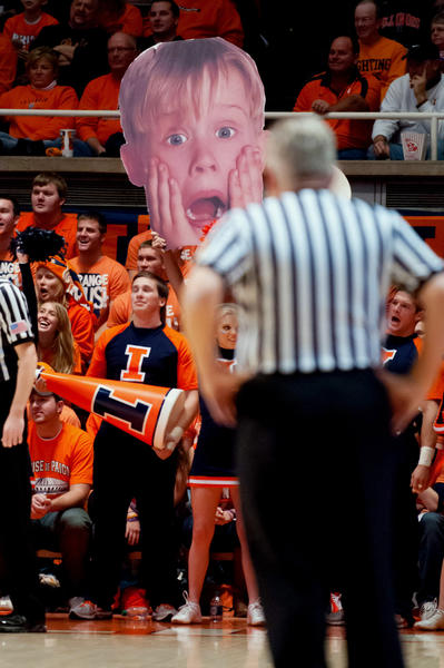 Illinois Fighting Illini fans hold a sign in reaction to a foul call during the second half against the Norfolk State Spartans at Assembly Hall. Illinois defeated Norfolk State 64-54.
