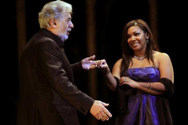 Janai Brugger, with Placido Domingo, performing at the Dorothy Chandler Pavilion in 2011. The singers will be part of a June concert devoted to zarzuela and Latin American music.