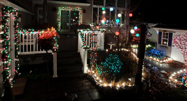 Christmas Decorations at 427 Birch Road, Hellertown. See this house on part eight ('Diana's wassail') of Bill White's 2012 Christmas lights tour.