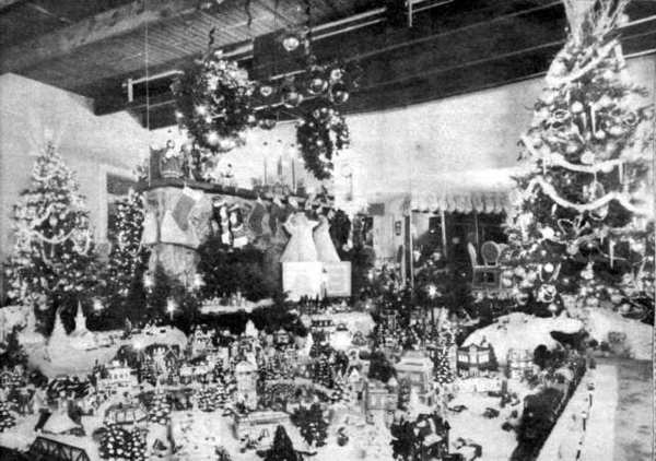 The living room of Nancy and Bob Wagner in La Cañada Flintridge was filled with a Christmas village and train display during December 1992, and featured on the cover of the Valley Sun.