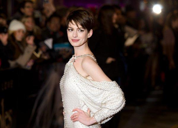 "Anne Hathaway discusses her car-exiting wardrobe malfunction with ""Today"" show anchor Matt Lauer. Here she's seen at the London premiere of ""Les Miserables"" on Dec. 5."