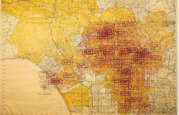 "A detail of ""Three Weeks in May,"" by artist-activist Suzanne Lacy. The 1977 work, which mapped rape cases across Southern California, has been acquired by the Hammer Museum."