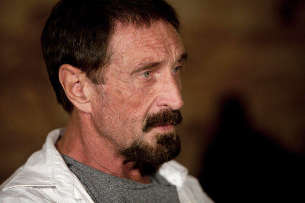 Software company founder John McAfee conducts an interview at a restaurant in Guatemala City on Dec. 4.