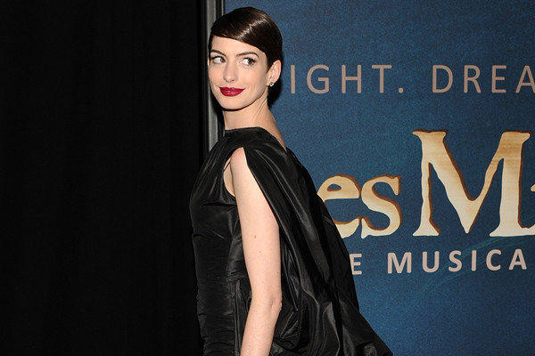 "Anne Hathaway attends the premiere for ""Les Miserables"" in New York."