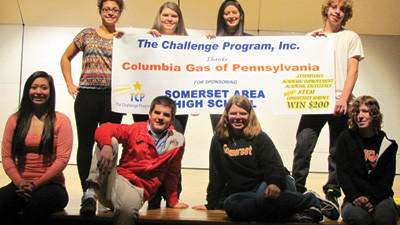 Students at the Somerset Area High School were introduced to The Challenge Program Inc. in a kick-off assembly. Pictured are students who participated in the assembly game challenges. From left are, first row: Sarah Mitchell, Randy Brewer, Alex Krause and Josie Brigham. Second row: April Culley, Mariah Fabian, Balee Wahl and Micheal Hay.