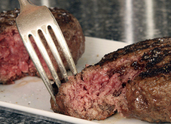 "A hamburger made from ground beef containing what is derisively referred to as ""pink slime,"" or what the meat industry calls ""lean, finely textured beef."""
