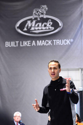 Race driver Bob Tasca III of the National Hot Rod Association circuit meets with Mack Trucks workers.  Tasca was at the Mack Customer Center facility to see the custom-designed Mack Pinnacle Axle Back truck that will haul his team's car and equipment for three years. Mack announced in November that it will be an official sponsor of Tasca Racing.