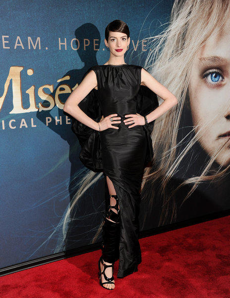 "Anne Hathaway attends the premiere for ""Les Miserables"" at the Ziegfeld Theatre on Monday in New York."