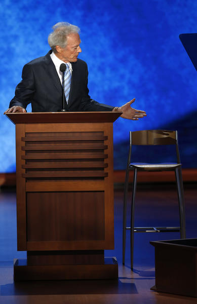 Year in Review: Entertainment news of 2012: Clint Eastwood spoke at the Republican National Convention and used an empty chair as a prop, speaking to it as if it were President Barack Obama. Eastwooding memes took over the internet.