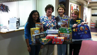 Eagle's Echo staff gives snack donations to Somerset Oncology Center. From left Kajal Patel, Leslie Schilling, Sybil McNelly, Megan Yachere