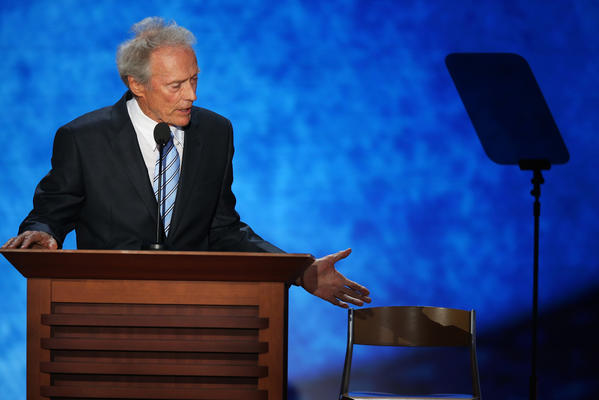 American movie icon Clint Eastwood seemed like a perfect fit to speak before Romney on the final night of the Republican National Convention. Instead, what they got was Eastwood speaking with an empty chair, a stand-in for an imaginary Obama. The meandering conversation went on for 15 minutes, largely overshadowing much of the night's events.
